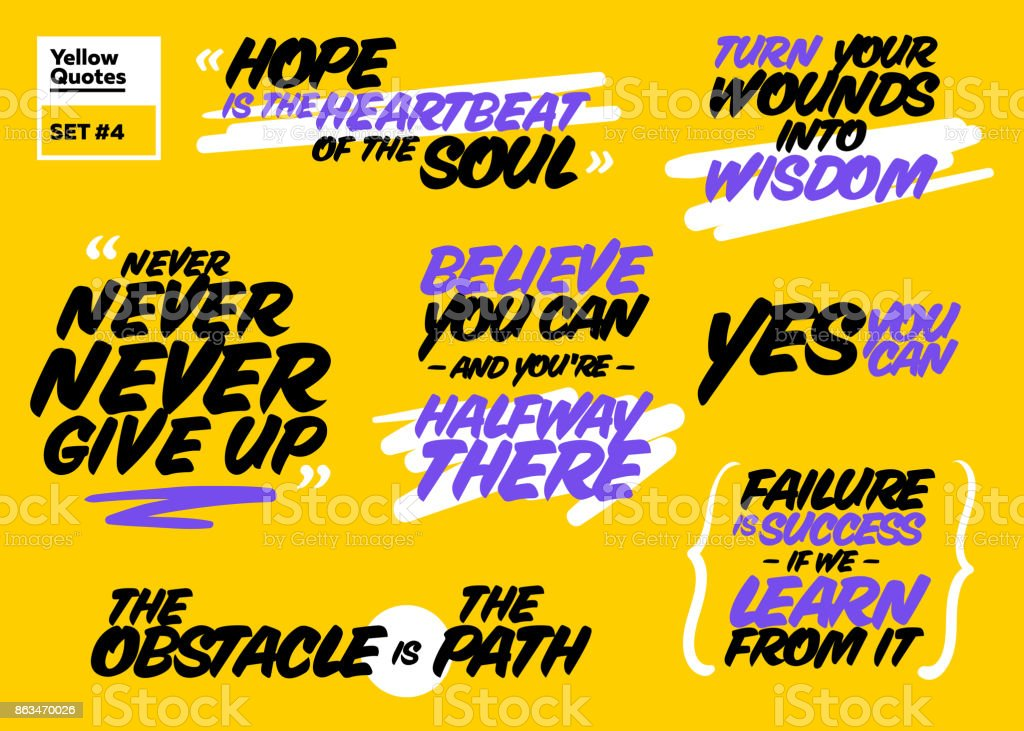 Vector Set Of Short Positive Quotes Motivational Cards With ...