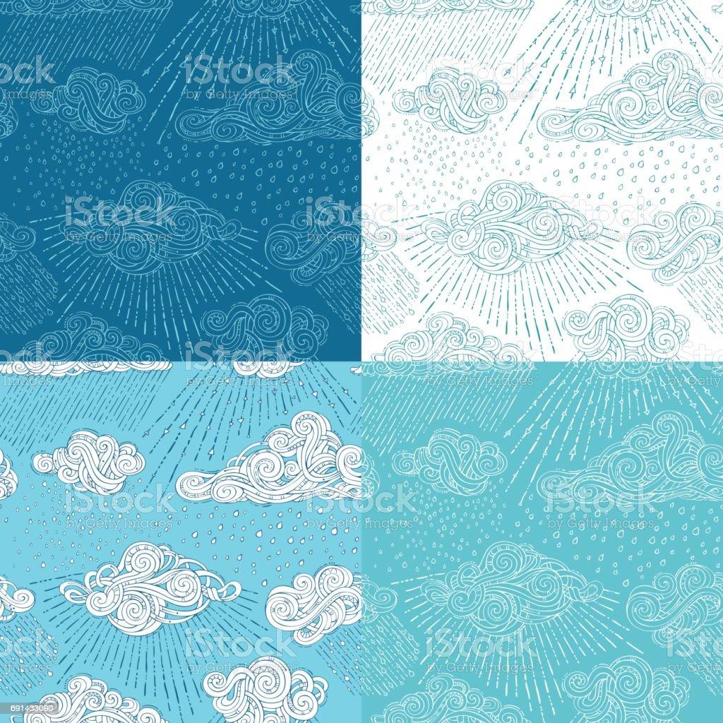 Vector Set Of Shower Seamless Patterns stock vector art 691433090 ...