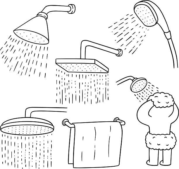 vector set of shower - 淋浴 幅插畫檔、美工圖案、卡通及圖標