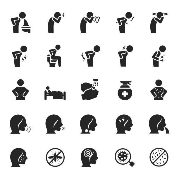 Vector set of sick icons Vector set of sick icons sore throat stock illustrations
