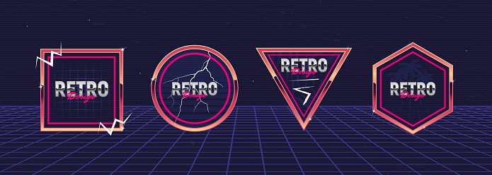 Vector set of signs and logos in Retrowave style. Retro 80's geometrical frames for Night club, music album, party invitation designs. Print for t-shirt, tee. Colorful neon logo designs.