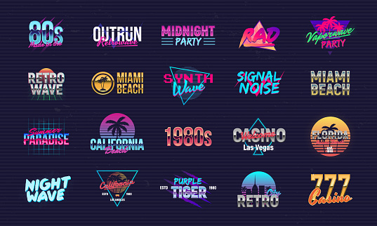 Vector set of signs and s in Retrowave style. Retro 80's s set for Night club, music album, party invitation designs. Print for t-shirt, tee. 20 colorful neon  designs.