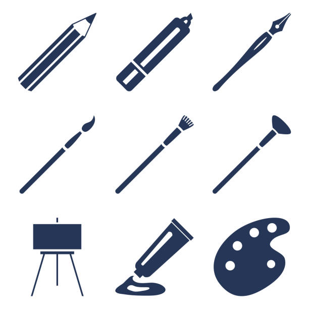 vector set of silhouette art icons. painting and writing tools - pióro wieczne stock illustrations