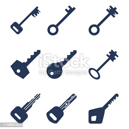 Vector Set of Silhouette Key Icons. Modern and Antique Keys. Types of Keys.