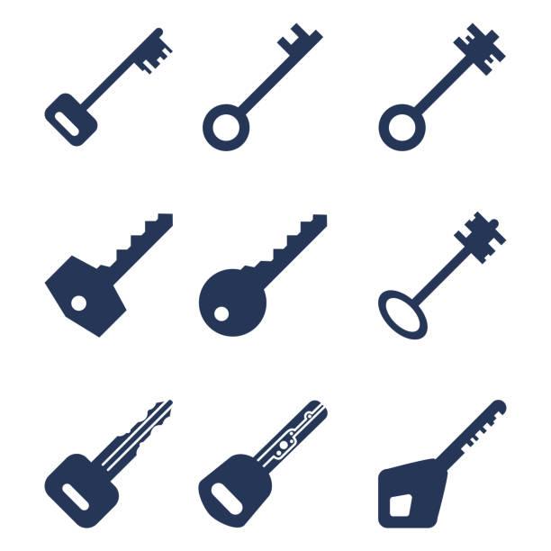 vector set of silhouette basic key icons. - klucz stock illustrations
