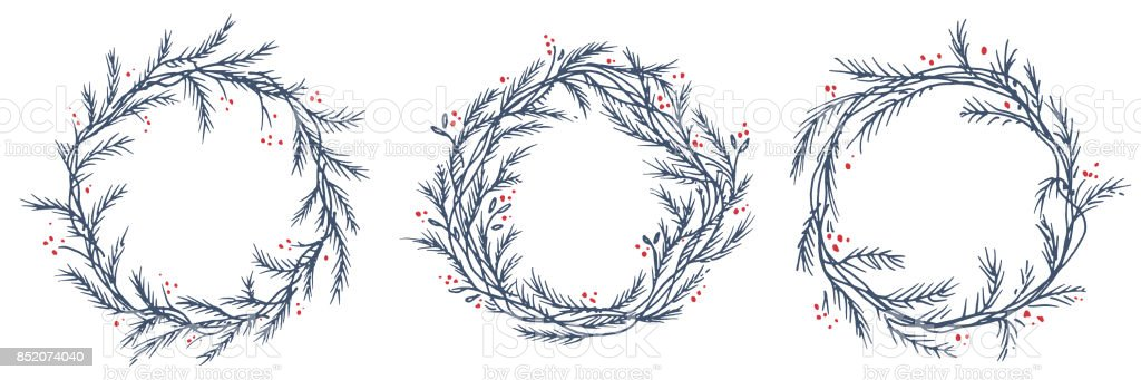 vector set of silhouette christmas wreath frames royalty free stock vector art - Wreath Frames