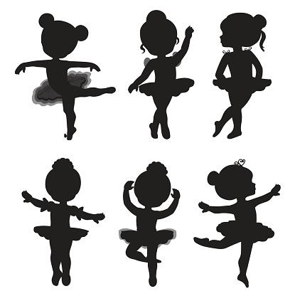 Vector set of silhouettes of little ballerinas.