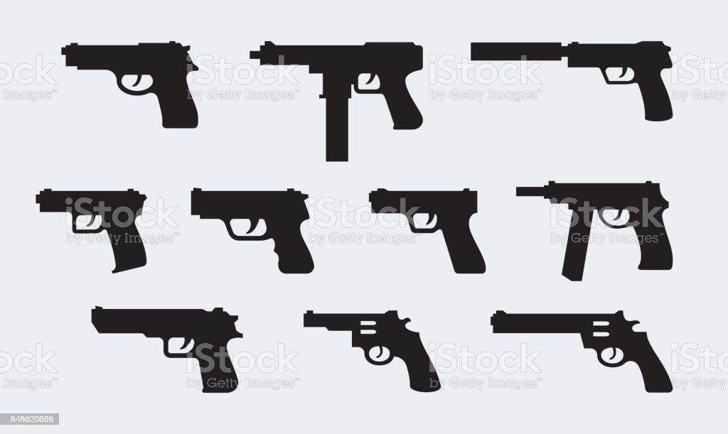 Conjunto de vetores de silhuetas de pistolas modernas - ilustração de arte em vetor
