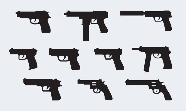 Vector set of silhouettes of modern pistols Vector set of silhouettes of modern pistols pistol stock illustrations