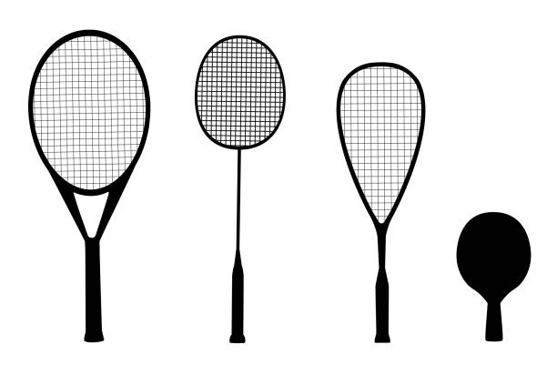 Vector set of silhouettes of racquet sports Vector set of black silhouettes of racquet sports - rackets for tennis, table tennis, badminton and squash isolated on white background racket stock illustrations