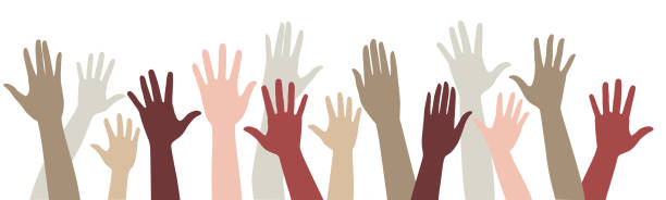 Vector set of silhouettes raised up different hands A set of silhouettes of raised hands a crowd of people raise their hands enthusiasm, vote, concert, greeting community borders stock illustrations