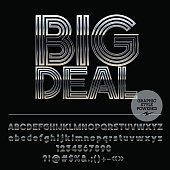 Vector set of silver Alphabet letters. Font contains graphic style. Vector icon with text Big Deal
