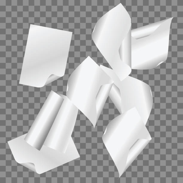 vector set of simple flying papers on transparent background. - aluminum foil roll stock illustrations, clip art, cartoons, & icons