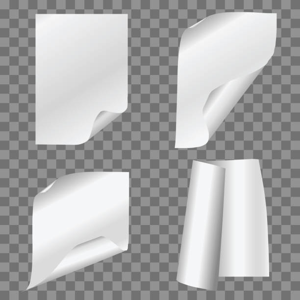 vector set of simple folded papers on transparent background. - aluminum foil roll stock illustrations, clip art, cartoons, & icons