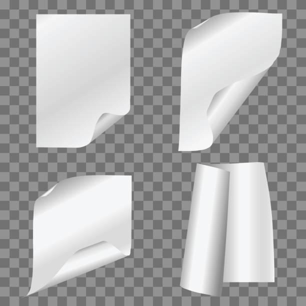 vector set einfach gefaltete papiere auf transparenten hintergrund. - flipchart stock-grafiken, -clipart, -cartoons und -symbole