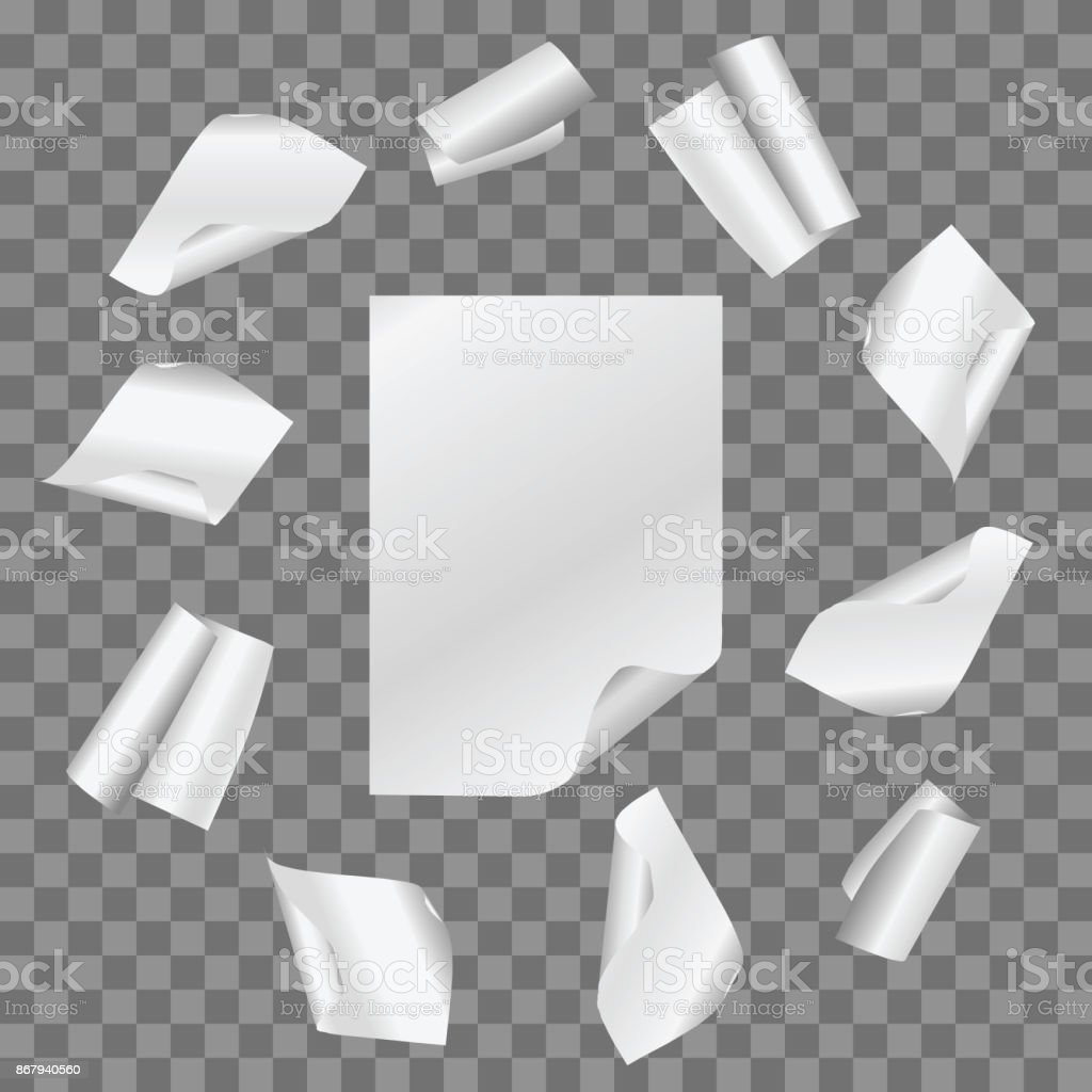 Vector set of simple papers flying in circle on transparent background. vector art illustration