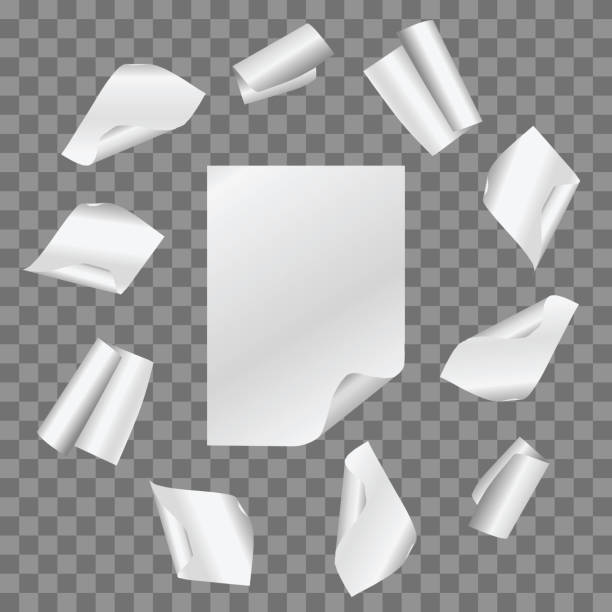 vector set of simple papers flying in circle on transparent background. - aluminum foil roll stock illustrations, clip art, cartoons, & icons