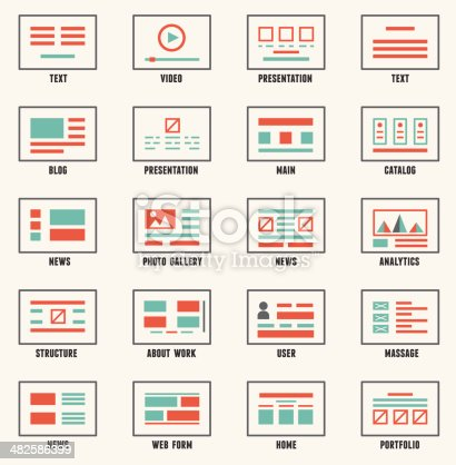 Vector Set Of Sitemaps Symbols For Webpage Stock Vector Art More