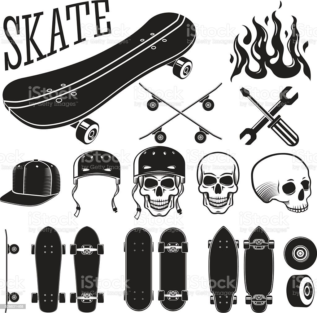 Vector set of skateboarding designer elements. Skates and flames, skull vector art illustration