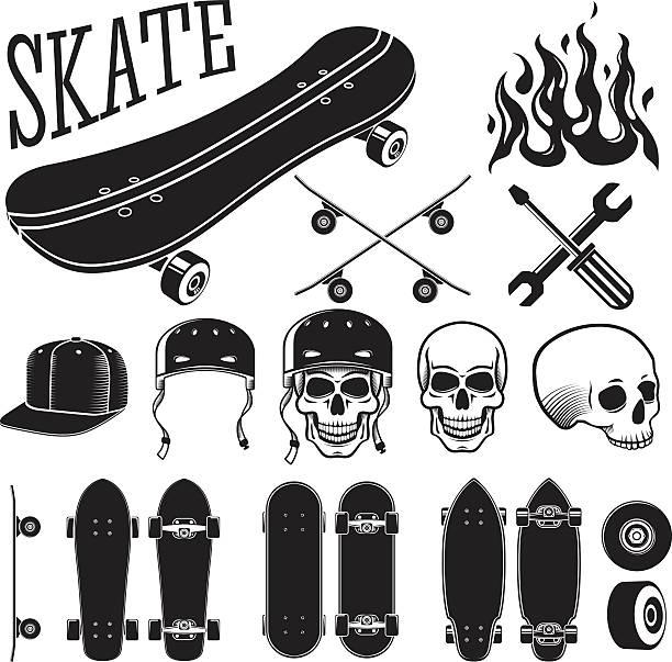 ilustrações, clipart, desenhos animados e ícones de vetor elementos de design conjunto de skate. patins e chamas, caveira - andar de skate