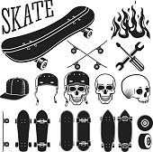 Vector set of skateboarding designer elements. Skates and flames, skull