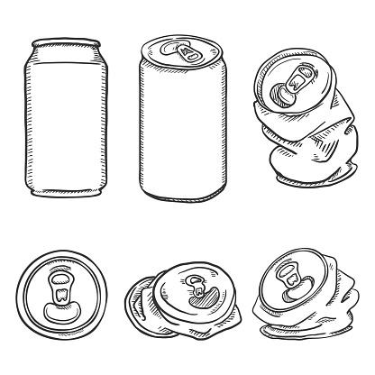 Vector Set of Sketch Aluminium Can Illustrations