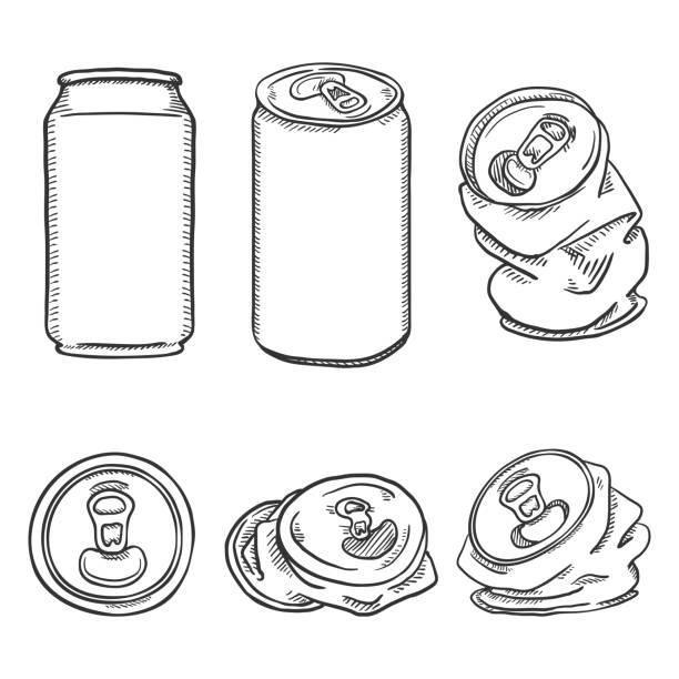 ilustrações de stock, clip art, desenhos animados e ícones de vector set of sketch aluminium can illustrations - latão