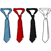 Vector Set of Sketch and Cartoon Color Neckties. Office Accessory.
