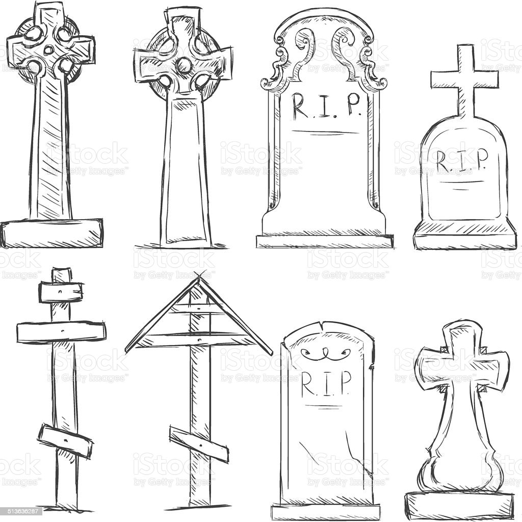 Vector Set of Sketch Cemetery Tombstones vector art illustration