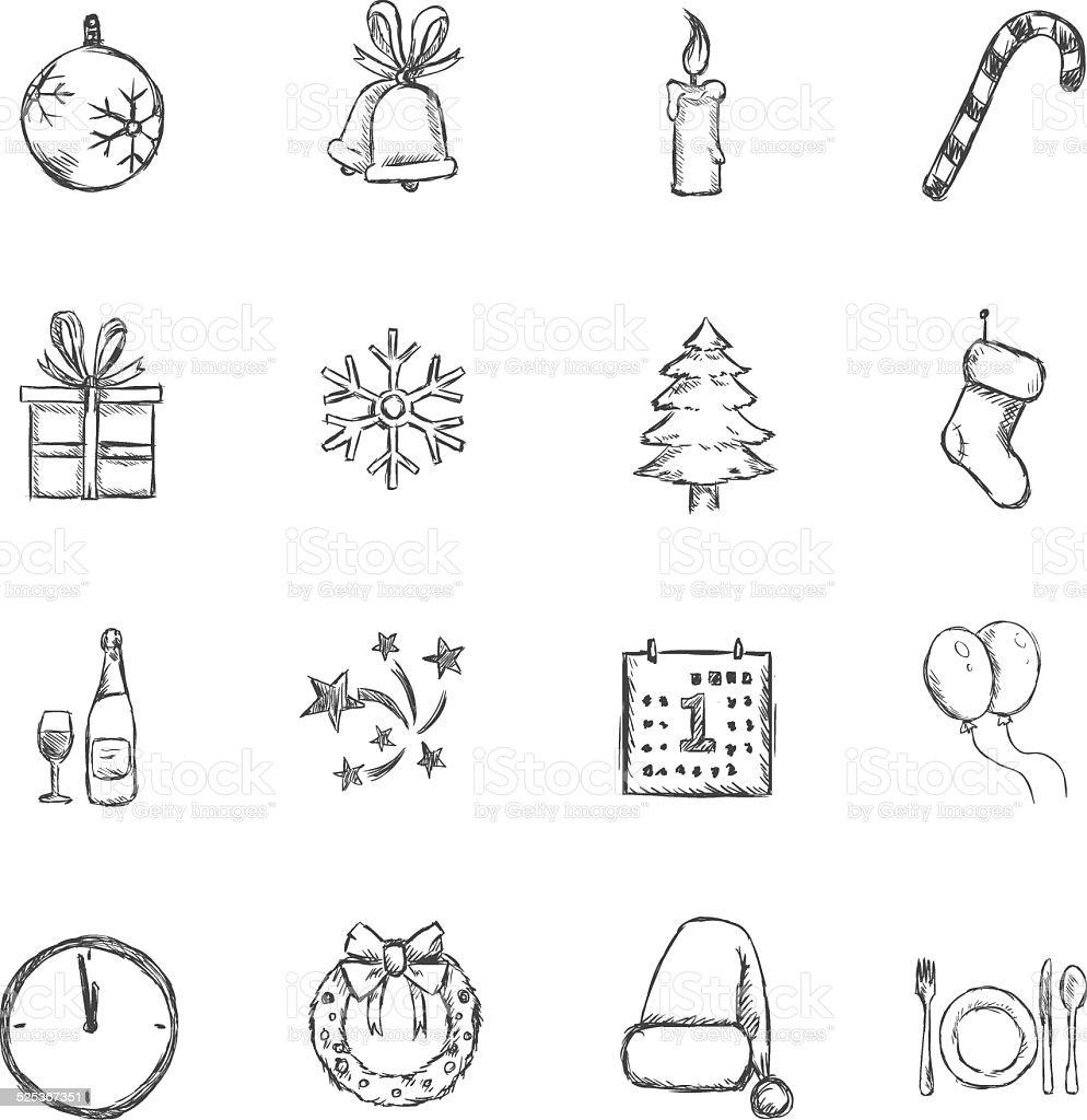 Vektorset Skizze Weihnachten Und Silvestersymbolen Stock Vektor Art ...