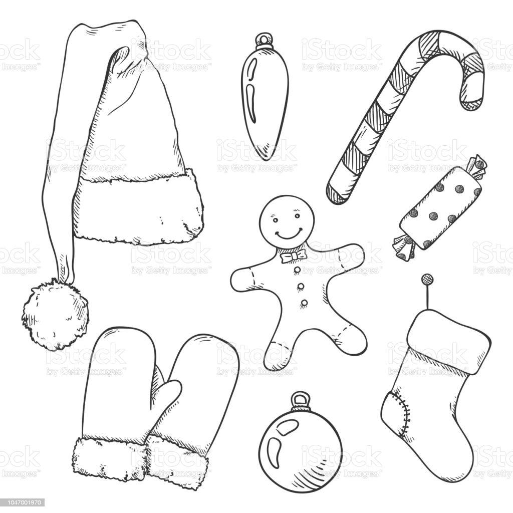 Vektorset Von Sketch Weihnachten Symbole Kleidung Und Dekorationen ...