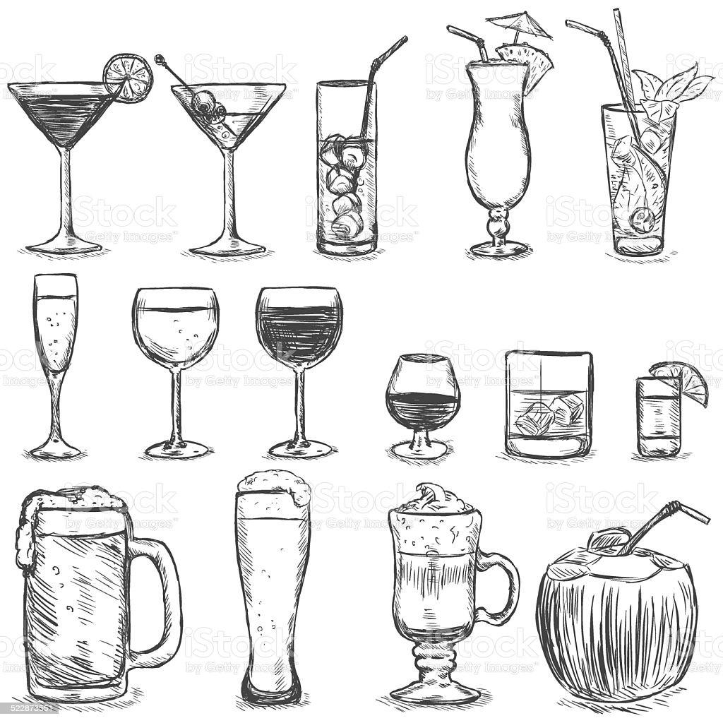 Vector conjunto de boceto de cócteles y bebidas alcohólicas - ilustración de arte vectorial