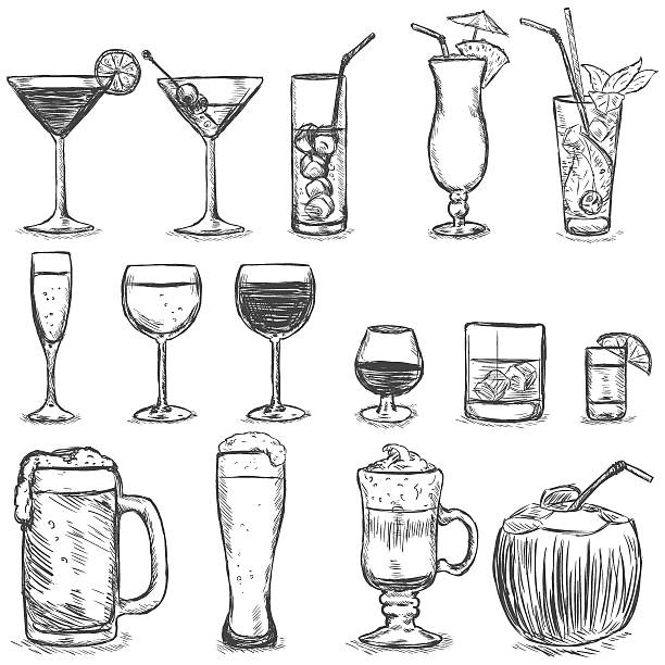 vector set of sketch cocktails and alcohol drinks - refreshment stock illustrations, clip art, cartoons, & icons