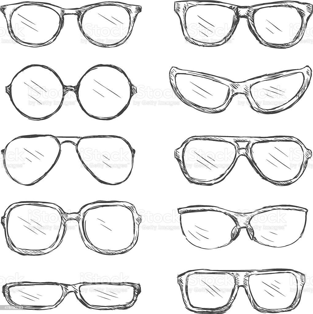 Vector Set of Sketch Eyeglass Frames vector art illustration