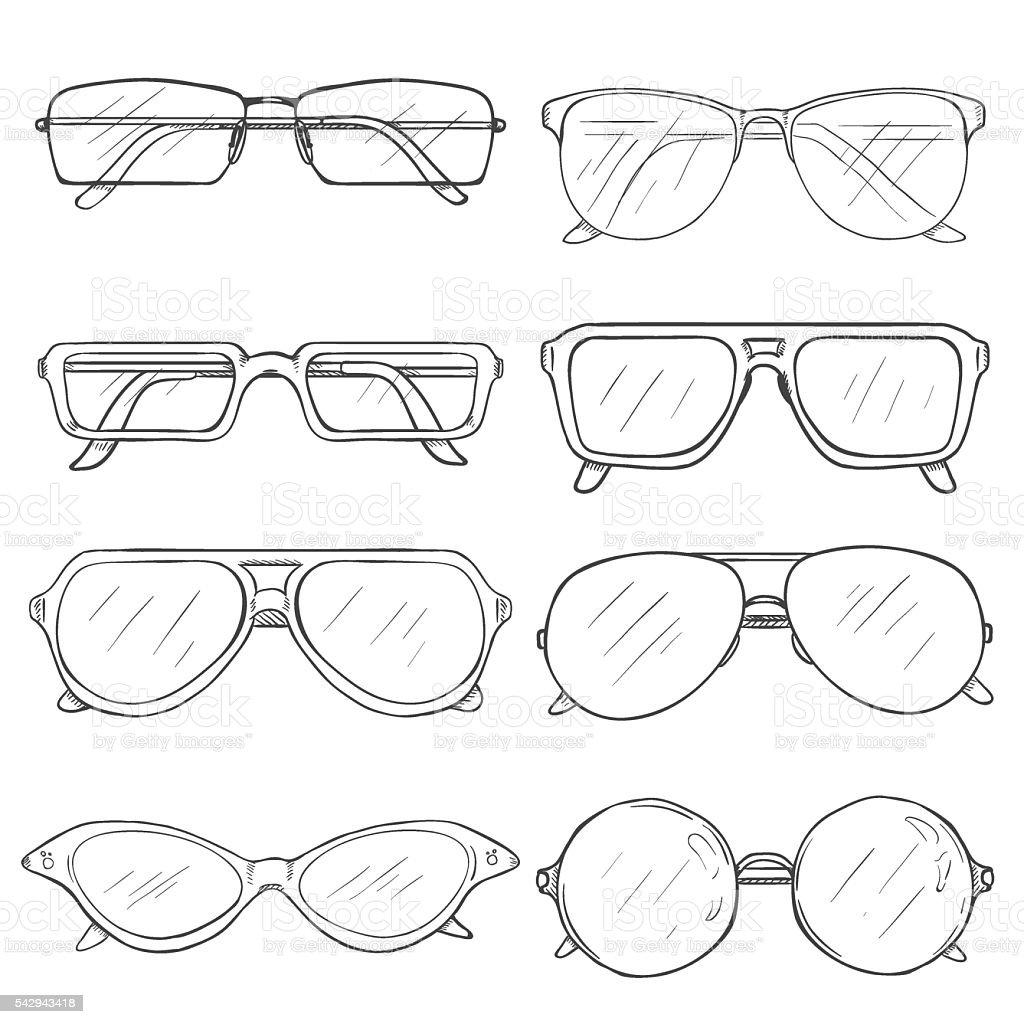 Vector Set of Sketch Glasses. Eyeglass Frames vector art illustration
