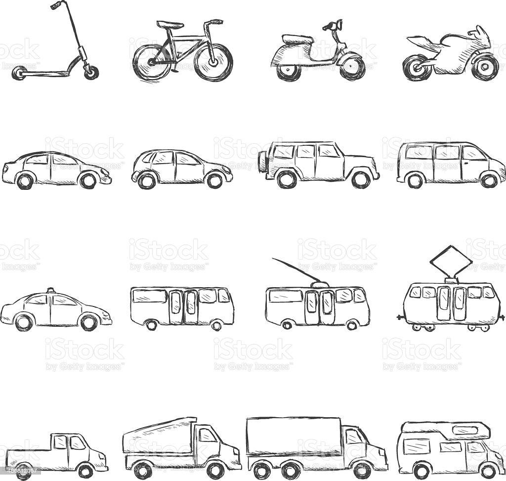 Vector Set of Sketch Ground Transportation Icons vector art illustration