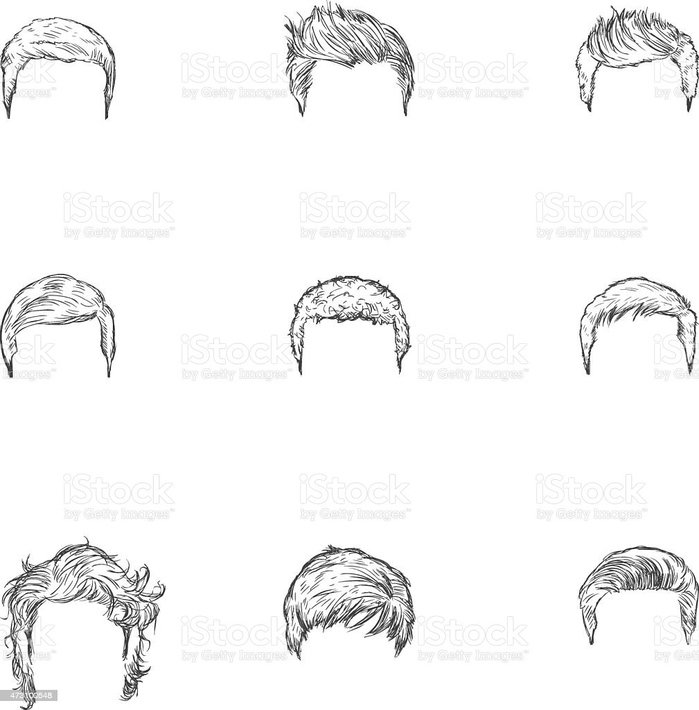 Vector Set Of Sketch Mens Hairstyles Stock Vector Art More