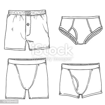 Vector Set of Sketch Mens Pants. Male Underwear. Different types of Underclothing.