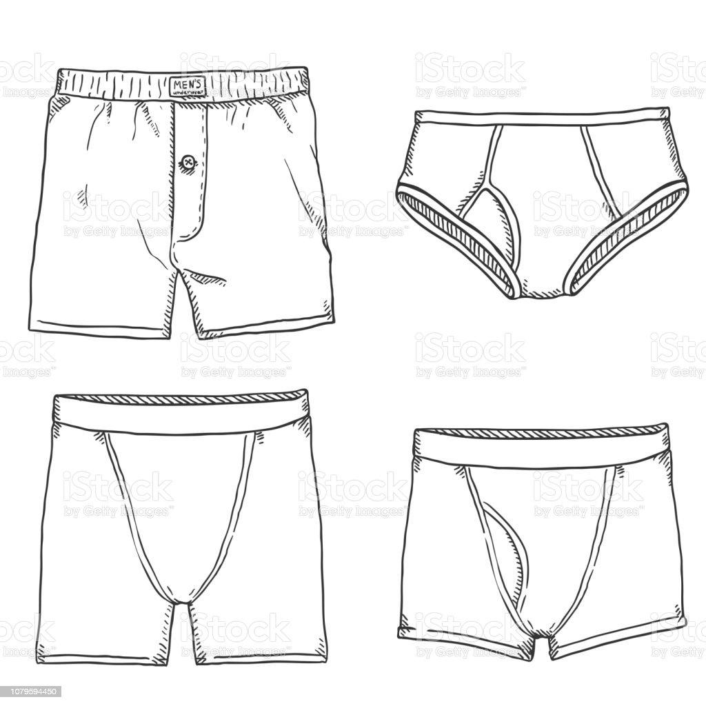 Vector Set of Sketch Mens Pants. Male Underwear. vector art illustration