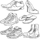 Vector Set of Sketch Shoes