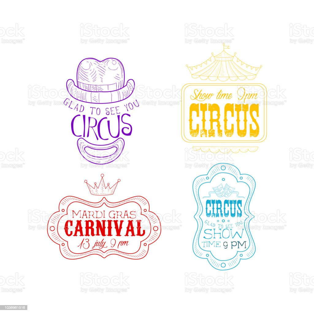 Vector Set Of Sketch Style Emblems For Circus And Mardi Gras