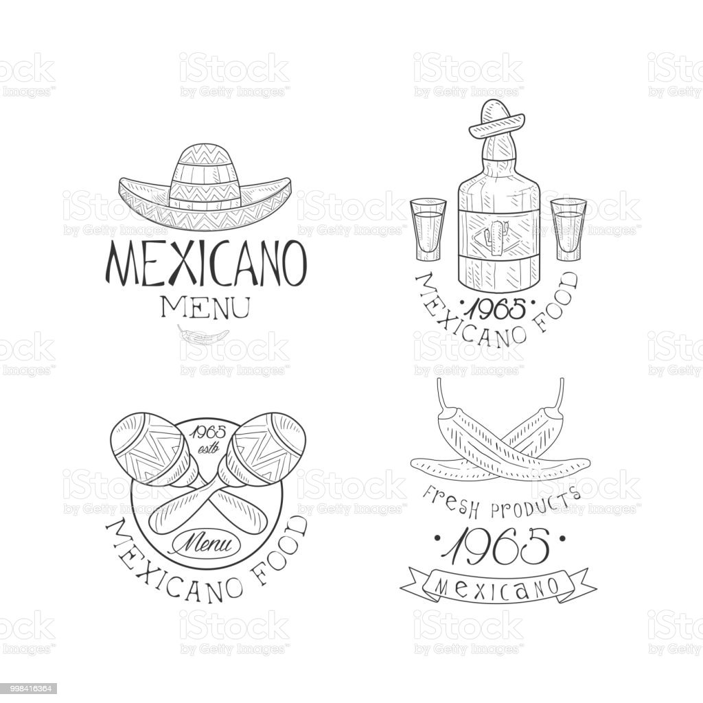 Vector Set Of Sketch Style Emblems For Mexican Restaurant Creative