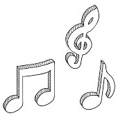 Vector Set of Sketch Symbols Musical Notes.