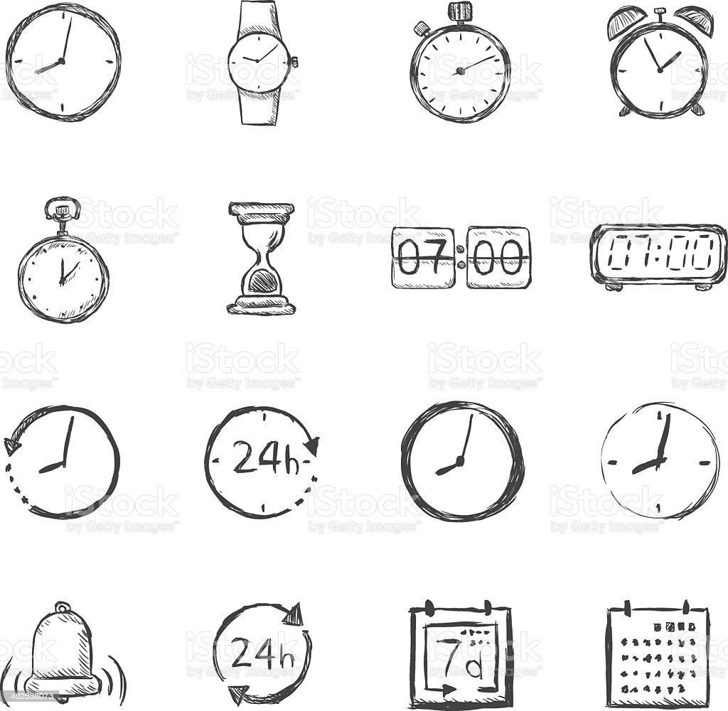 Vector Set of Sketch Time Icons vector art illustration