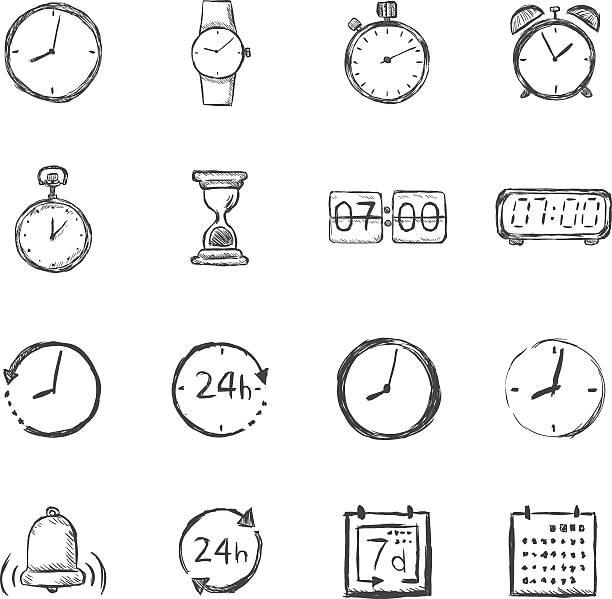 bildbanksillustrationer, clip art samt tecknat material och ikoner med vector set of sketch time icons - armbandsur