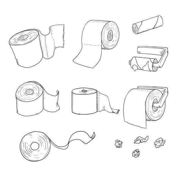 Vector Set of Sketch Toilet Paper Vector Set of Sketch Toilet Paper Illustrations toilet paper stock illustrations