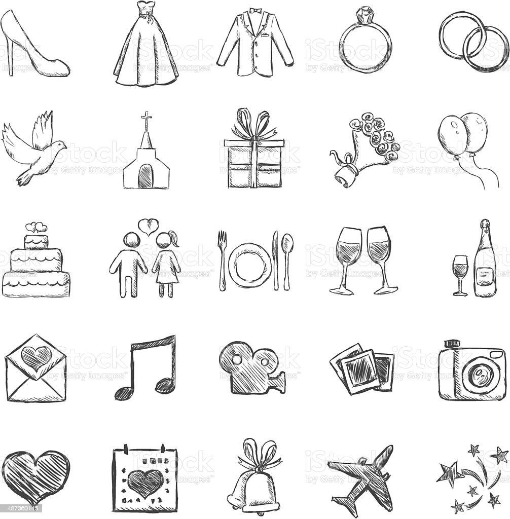 Vector Set of Sketch Weddings Icons vector art illustration