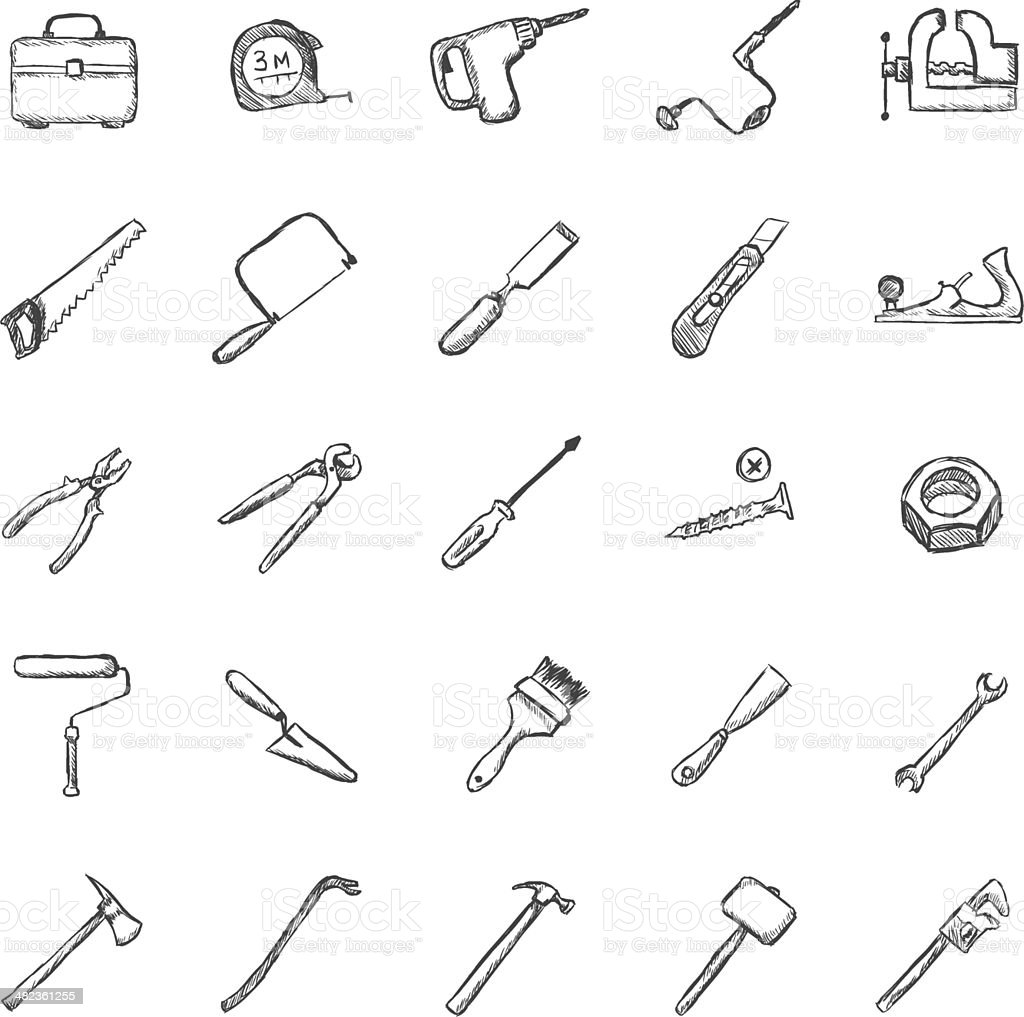 Vector Set of Sketch Work Tools Icons vector art illustration