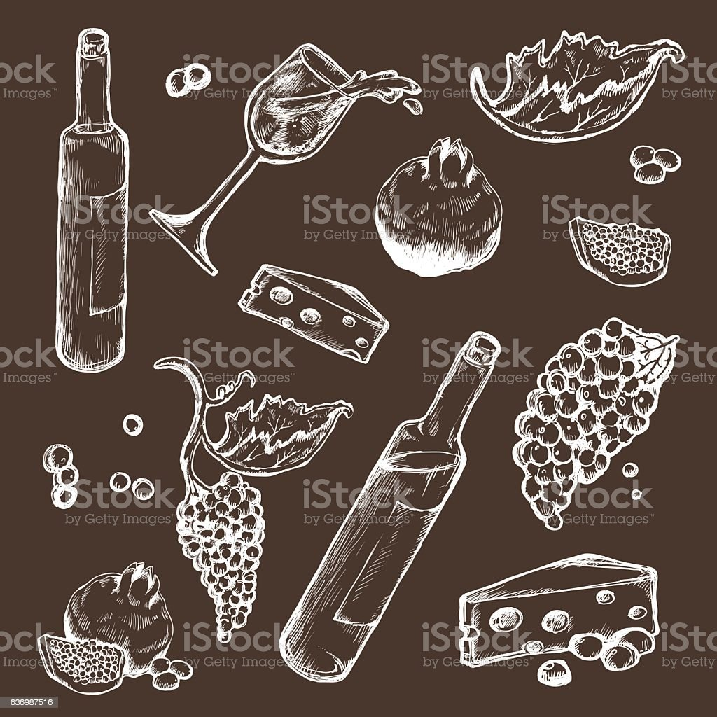 Vector set of sketches beverage and food vector art illustration