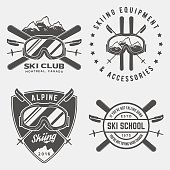 vector set of skiing logos, emblems and design elements
